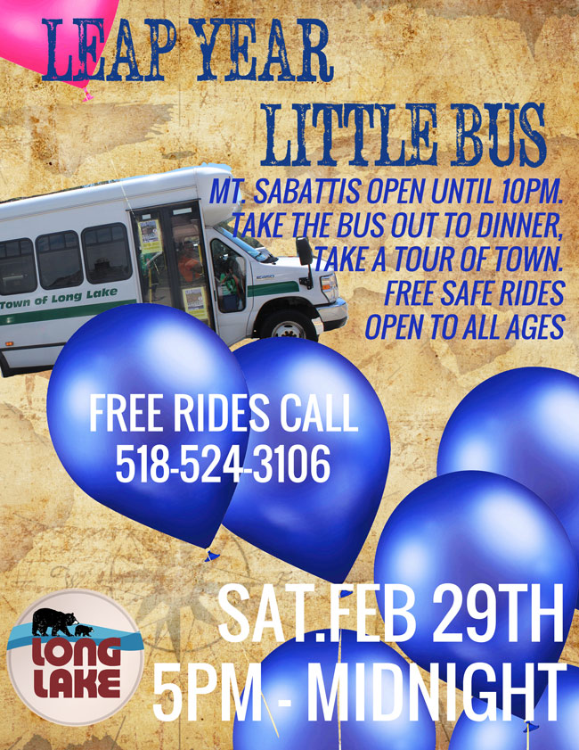 LEap Year bus in Long Lake is free