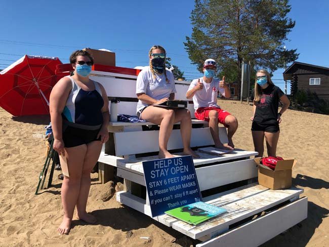 Long Lake lifeguards at beach with masks in 2020