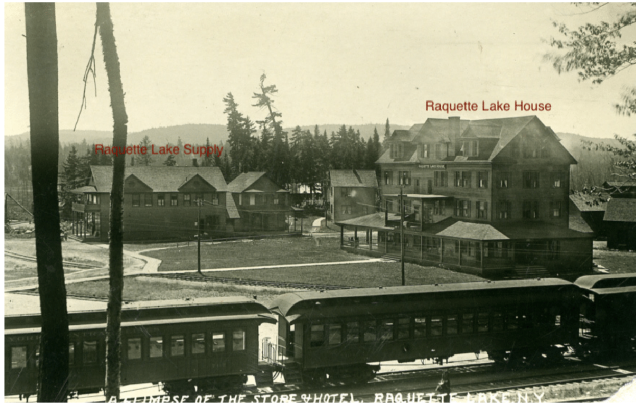 Historic Postcard of Raquette Lake featuring the train, hotel and RL Supply