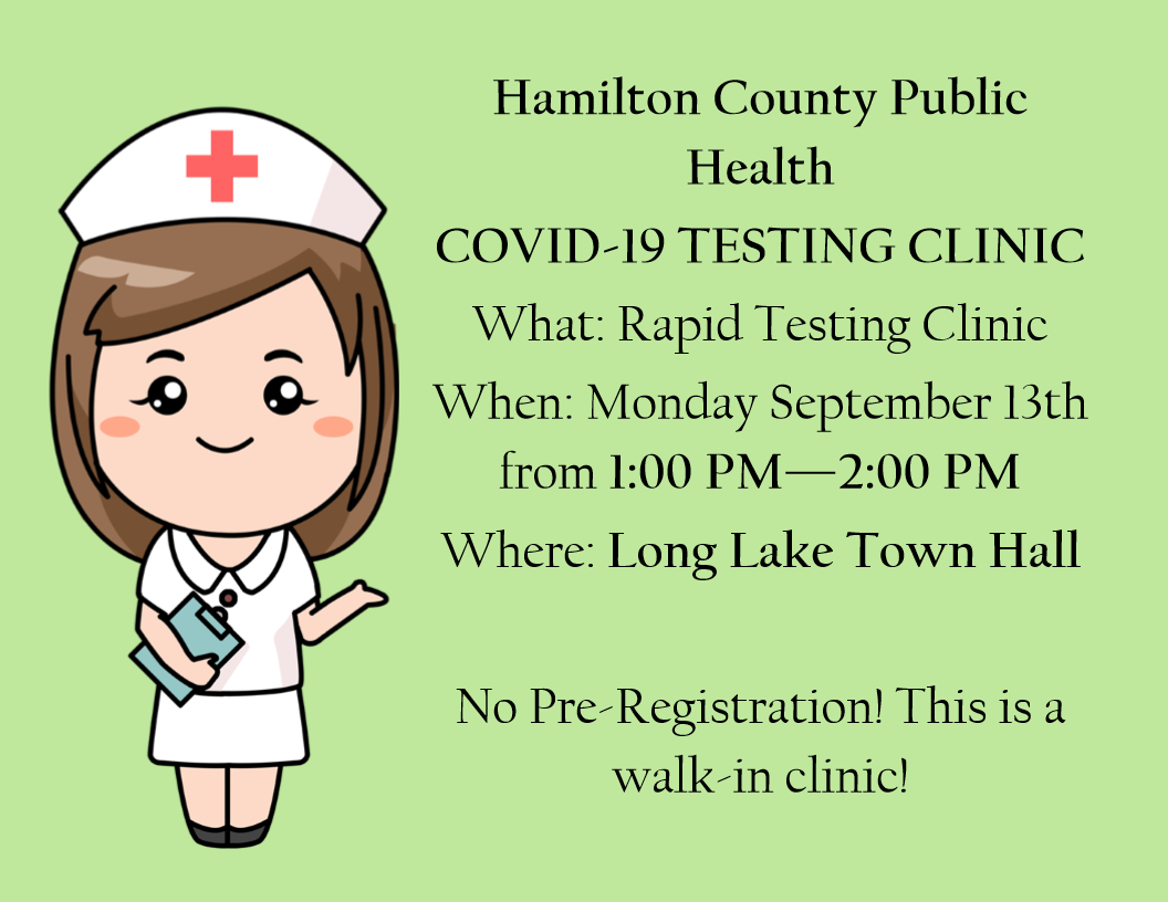 Testing Clinic Sept 13th 1pm - 2pm 2021